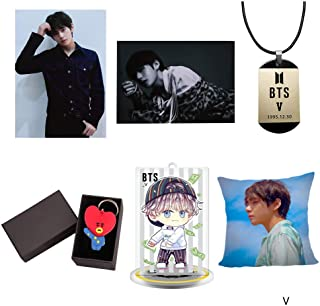 Youyouchard BTS Bangtan Boys[Love Yourself 'HER'] Pillow Case/Cushion Covers Double-Sided+BTS Poster+Cartoon Keychain+BTS Humanoid licensing Acrylic+Vintage Leather Collar(V)