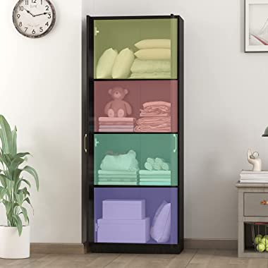 FUFU&GAGA Tall Storage Cabinet with 2 Doors and 4 Shelves - Wooden Side Storage Organizer Cabinet Perfect for Study, Bedr