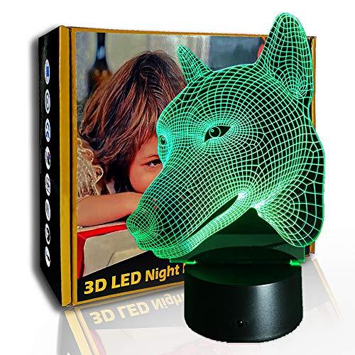 JINYI 3D Luz nocturna Cunning Fox, lámpara de ilusión LED, lámpara de escritorio para niños, B- Base negra remota (7 colores), Lámpara de noche, Lámpara Novedad