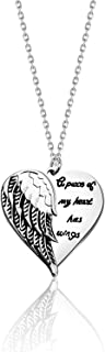 HOLLP Sympathy Gift Memorial Jewelry A Piece of My Heart Has Wings Angel Wing Necklace Remembrance Gift for Loss of a Loved One