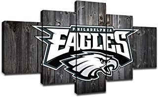 Philadelphia Eagles Pictures for Wall Art Paintings 5 Piece Canvas Living Room Decor Football Team Logo Artwork Decoration Poster Prints Framed Ready to Hang(60''Wx32''H)