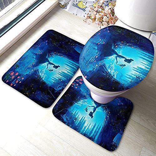 Liuqy Pinocchio Badezimmer Teppich Soft Pads Badematte + Kontur Pads + Toilettendeckel Abdeckung 3-Teiliges Set, Teppichbad Und Matte Pads Set