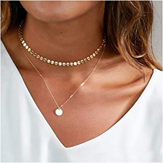 coin necklace layered