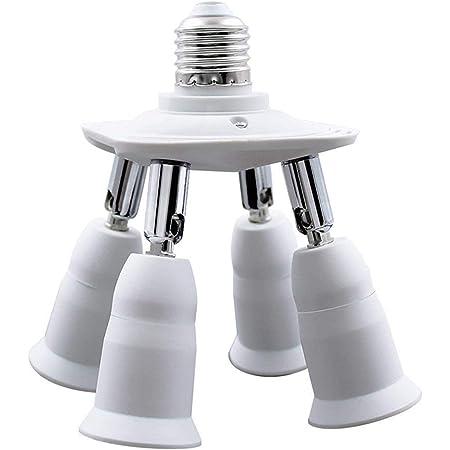 4 en 1 E27 Adaptador de enchufe, E27 Base Enchufe Adaptador, E27 Bombillas LED portalámparas, Normal convertir encufe del lámpara de araña con 360 Grados de flexión ajustable en 180 Grado
