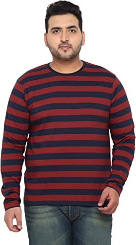 Men s Red Navy Blue Striped Regular Fit Full Sleeve Cotton T Shirt