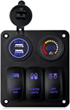 WATERWICH 3 Gang Marine IgnitionToggle Rocker Switch Panel Waterproof with LED Digital Colorful Voltmeter 4.2A Dual USB Charger Socket Adapter For RV Car Boat Vehicle Truck Yacht SUV Ship(3 Gang Blue)