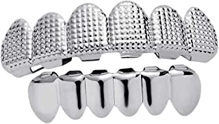 IPOTCH Halloween Copper Hip Hop Punk Gills Fit Teeth Grill Caps 6 Teeth Top & 6 Teeth Bottom Grill, Removable, for Cosplay
