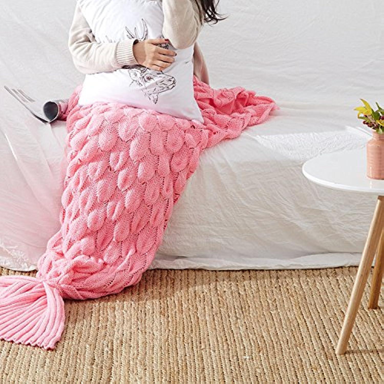 SWerthy Mermaid blanket Mermaid Tail air Conditioning blanket Sofa blanket Knit Casual blanket nap blanket, Pink, 195  90cm (76.8  35.4 inch)