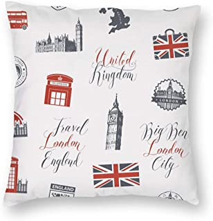 SARA NELL Velvet Throw Pillow Cases,Theme UK and London,Pillow Covers Decorative 18x18 in Pillowcase Cushion Covers with Zipper
