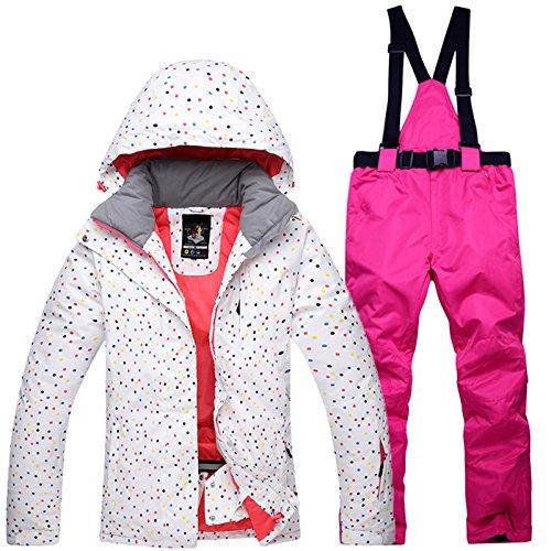 Zantec Combinaison de Ski pour Femme Coupe-Vent, imperméable, Chaude, Thermique, avec Veste de Snowboard et Pantalon L Jacket + Bright Pink Pants