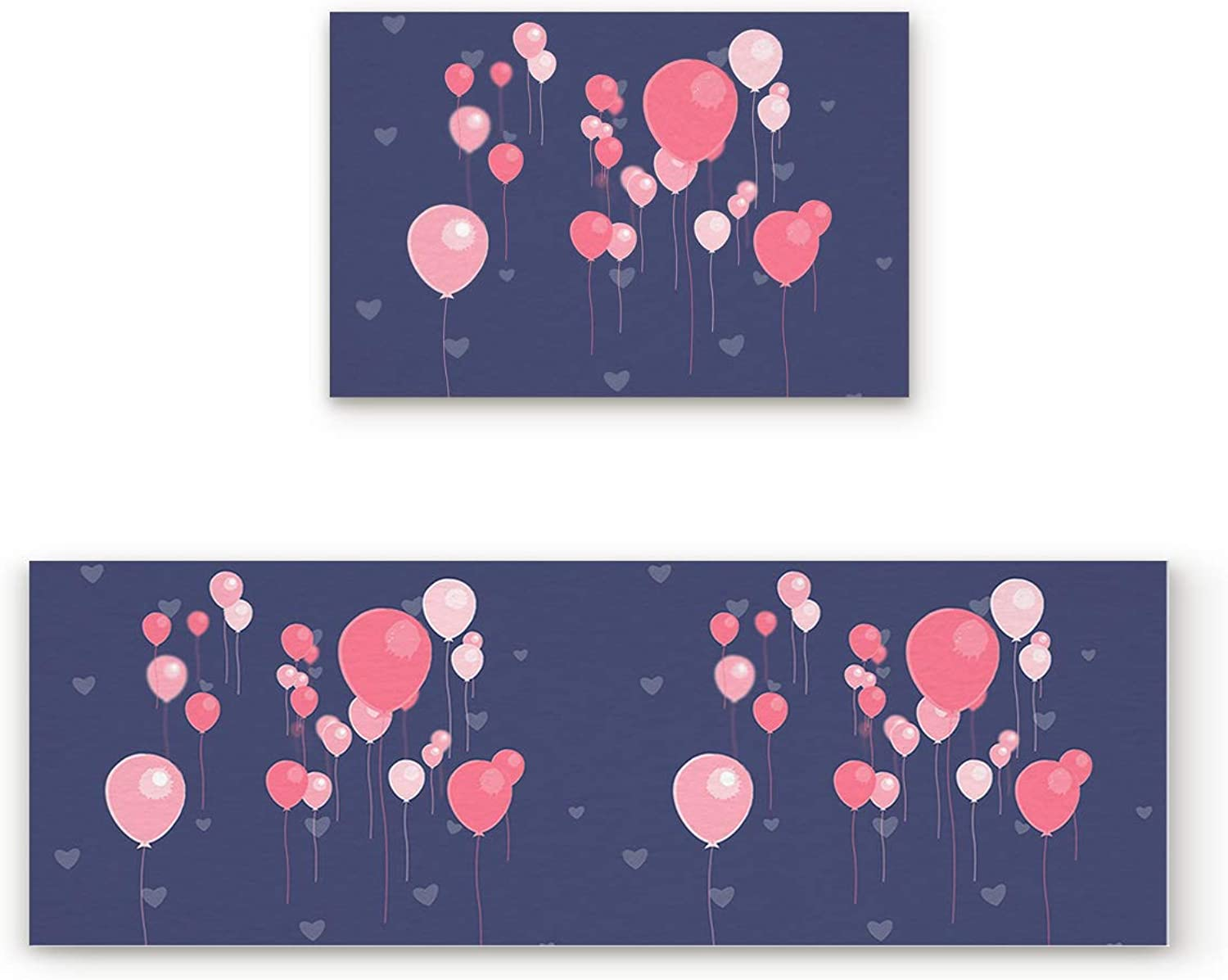 Aomike 2 Piece Non-Slip Kitchen Mat Rubber Backing Doormat Pink and Red Balloons Valentine's Day Runner Rug Set, Hallway Living Room Balcony Bathroom Carpet Sets (19.7  x 31.5 +19.7  x 63 )
