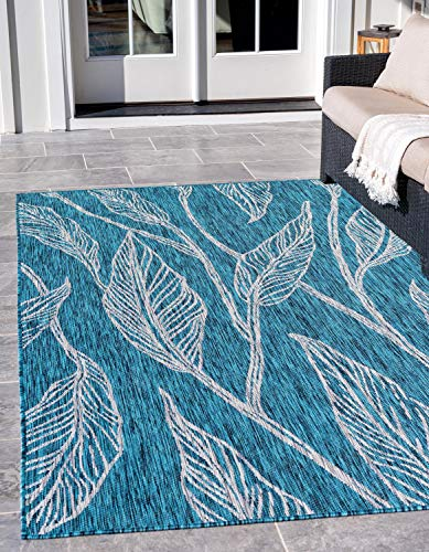 Unique Loom Outdoor Botanical Collection Casual Leafs Transitional Indoor and Outdoor Flatweave Teal  Area Rug (8' 0 x 11' 4)