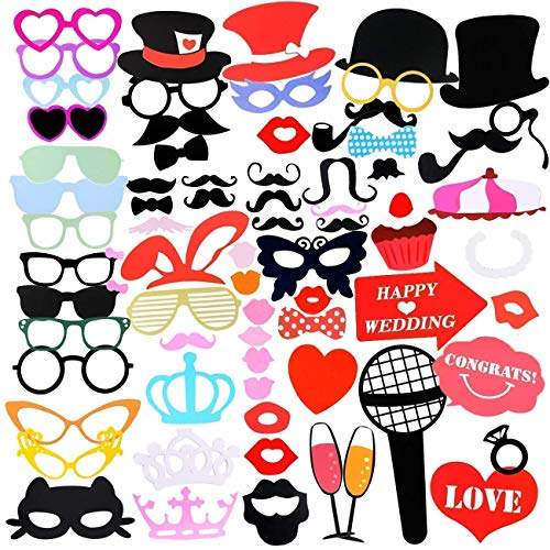 Gyvazla 75Pcs DIY Photo Booth Props Incluyendo Bigotes Gafas