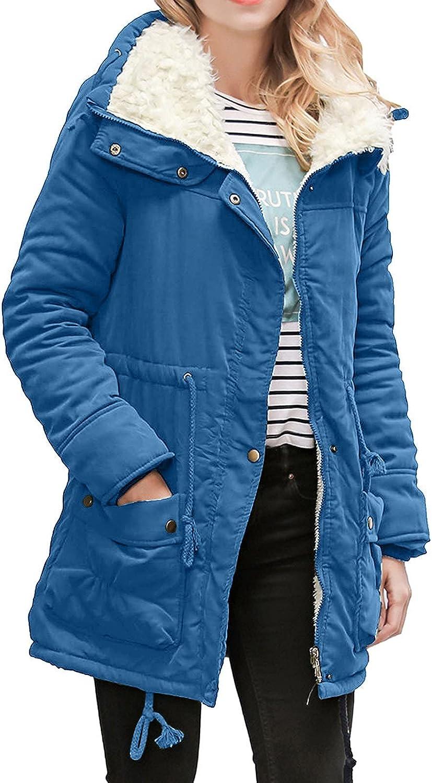 FOVIGUO Women's Thicken Coats, Lined Fleece Faux Fur Full-Zip Button Down Warm Winter Solid Parka Jackets