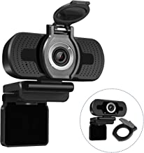 Dericam 1080P HD Webcam with Webcam Cover, USB Webcam for Live Streaming, Desktop and Laptop Webcam, Plug and Play Video Calling Computer Camera, Built-in Mic, W2, US, Black