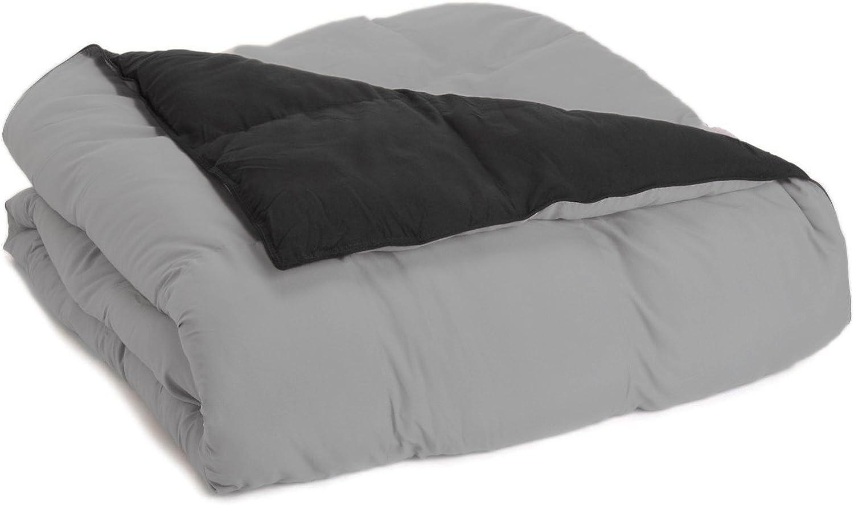 Superior Reversible Down Alternative Comforter, Medium Weight Bedding for All Season Use, Fluffy, Warm, Soft & Hypoallergenic - Twin Twin XL Size, Black & Grey