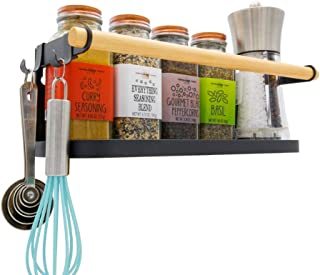 Magnetic Fridge Spice Rack Organizer [1-Tier with 2x Utility Hooks] - Mounted Jar Container Storage, Kitchen Roll Holder, Multi Use Shelves, Pantry Wall, Laundry Room, Dorm, Garage. [Matte Black]