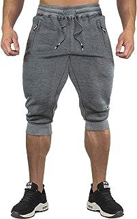 CRYSULLY Men's 3/4 Joggers Pants Workout Capri Shorts Below Knee Short Pants Zipper Pockets