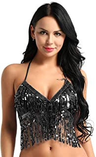 ACSUSS Womens Shiny Glitter Sequins Belly Dance Halter Bra Top Rave Party Clubwear