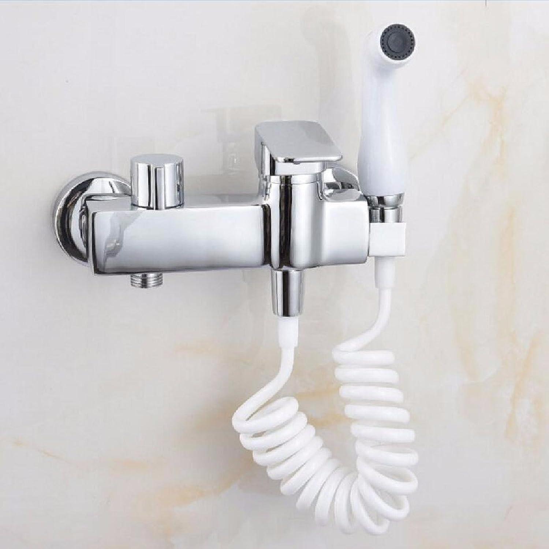Bijjaladeva Wasserhahn Bad Wasserfall Mischbatterie Waschbecken Waschtisch Armatur für BadAlle Kupfer Frau Waschen mit Warmem und kaltem Druck Küchenarmatur mit Spritzpistole B