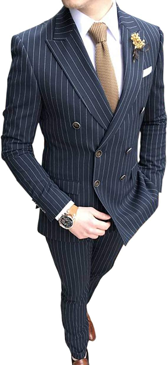 Men's 2 Piece Formal Slim Fit Pinstripe Men Suit Double-Breasted Groomsmen Tuxedos for Wedding(Blazer+Pant)
