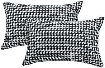 Yi Xin Set of 2 Farmhouse Buffalo Check Plaid Throw Pillow Covers,Cotton Linen Pillowcases (Black & White Houndstooth, 12x20)
