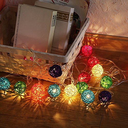 9.8 Feet 20 Rattan Ball Fairy String Lights Plug in, Flexible Romantic Warm Lighting for Home Decor (Colorful) 3