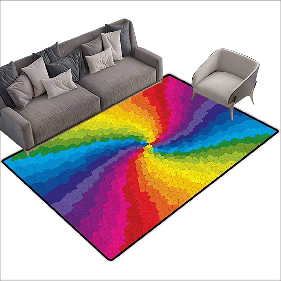 Office Chair Floor Mat Foot Pad Colorful,Stained Glass Design in Rainbow Colors Burst Effect Abstract Mosaic Swirls Artwork,Multicolor 60