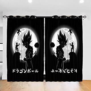 Customized Blackout Window Curtains Dragon Ball Z Goku Freiza Moon Grommet Thermal Insulated Room Darkening Drape for Bedroom Living Room 52 X 72 Inch, 2 Panels
