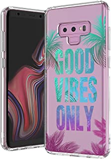 MOSNOVO Galaxy Note 9 Case, Good Vibes Only Tropica Leaves Quotes Printed Pattern Clear Design Transparent Plastic Hard Back Case with TPU Bumper Protective Case Cover for Samsung Galaxy Note 9