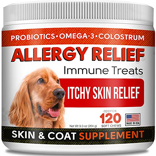 STRELLALAB Allergy Relief Chews for Dogs with Omega 3 + Probiotics + Colostrum - Itchy Skin Relief Immune Supplement - Skin & Coat Health - Digestion Support - Made in USA - Anti Itch & Hot Spots