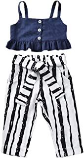 Kids Toddler Baby Girl Ruffle Strap Tank Tops+Zebra Stripes Pants Outfit Summer Clothes Two Piece Set