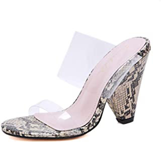 Stupmary Women Sandals Peep Toe Clear Strap Chunky Block Heels Transparent Heeled Mules