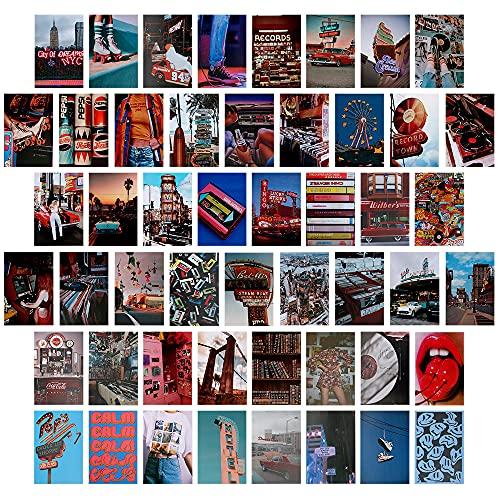 Wandcollage, 50 Stück Aesthetic Bilder Set, Ästhetik Kit, Sommer Wandcollage Set Aesthetic, Aesthetic Bilder für Wand, Retro Raumdekoration für Mädchen, Nostalgie Wandcollage