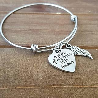 A Piece Of my Heart is in Heaven Angel Wing Memorial bracelet