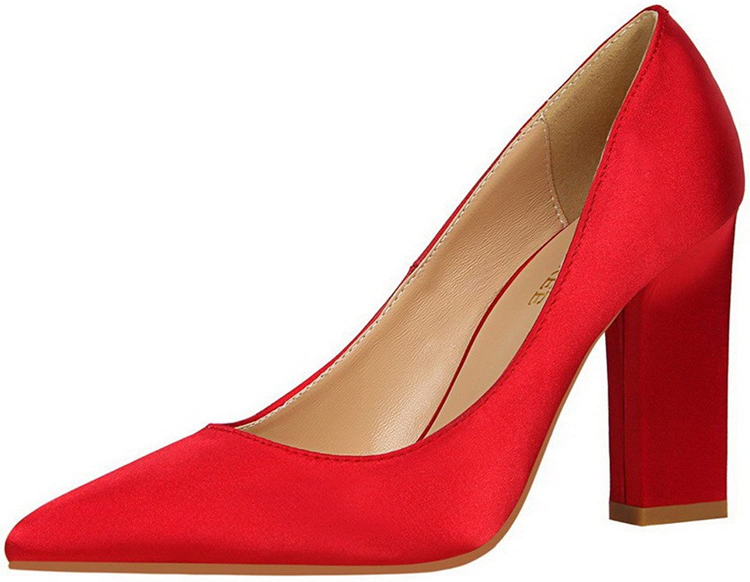 WeiPoot Women's Blend Materials Pointed Closed Toe High-Heels Pull-On Solid Pumps-shoes