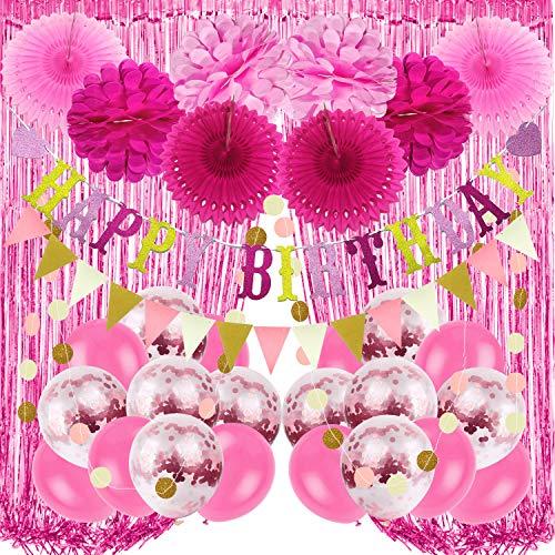 Recosis Decoraciones para Fiesta de Cumpleaños, Pancarta Rosa de feliz Cumpleaños, Cortinas, Pompones y Abanicos de Papel, Guirnalda, Globos de Confeti para Decoraciones de Fiesta de Cumpleaños