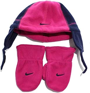 Nike Baby Fleece Ear Flap Beanie & Mitten Set Toddler Winter Cap Hat (Bold Berry Navy Blue) 2T-4T
