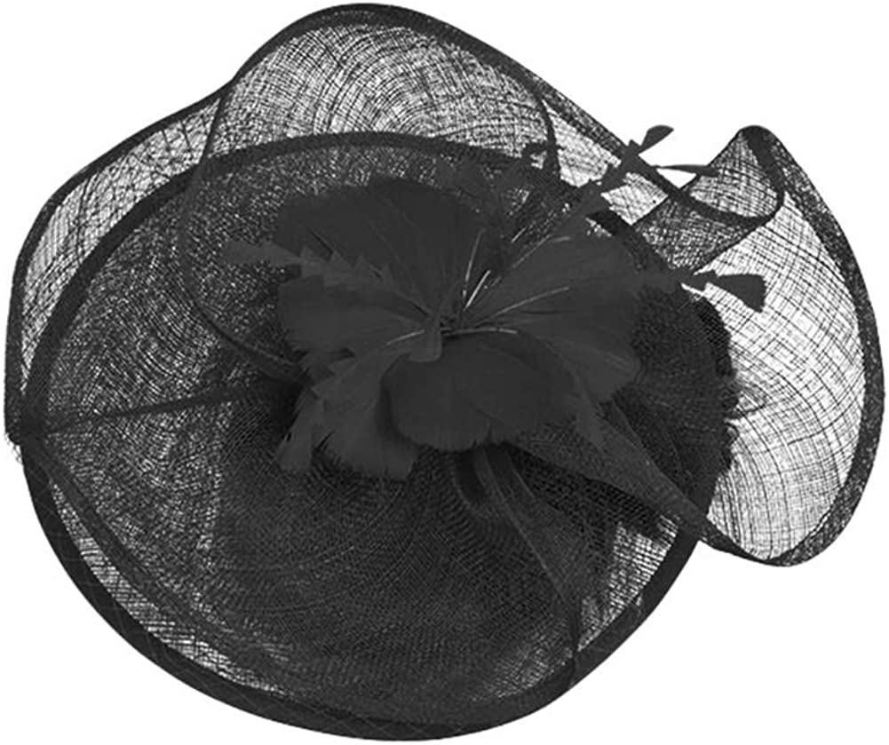 CHUANGLI Fascinator Clip Headband Large Pillbox Hat Headwear with Veil Racing Debery Cocktail Wedding Tea Party