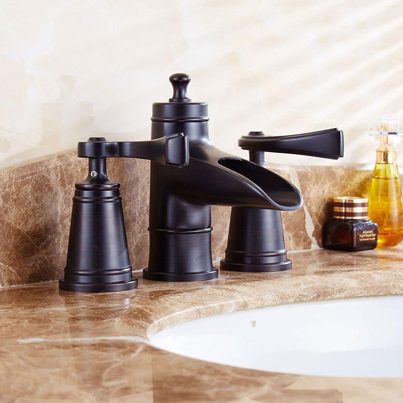 LHbox Bad Armatur in Bad für Waschbecken Waschtisch Wasserhahn Waschtischarmatur Messing antik schwarz doppel Griff DREI Loch Keramik Ventil Bad warmes und kaltes Wasser Waschtisch Armatur