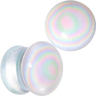 Body Candy 2PC White Glass Radiant Swirl Saddle Plugs Double Flare Plug Set Ear Plug Gauges