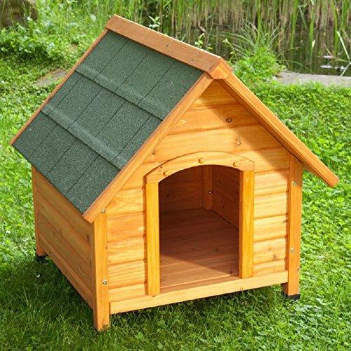 Niche d'extérieur pour chien en bois clair avec toit incliné (les styles peuvent varier)