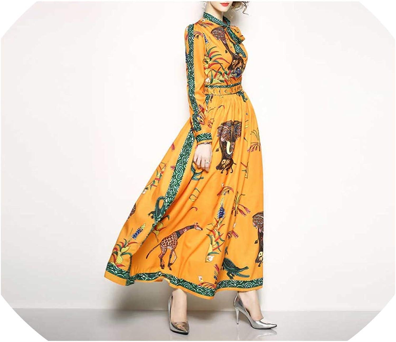 Maxi Dress Women's Elegant Beach Animal Printing Long Dress Bow Collar Party Dresses
