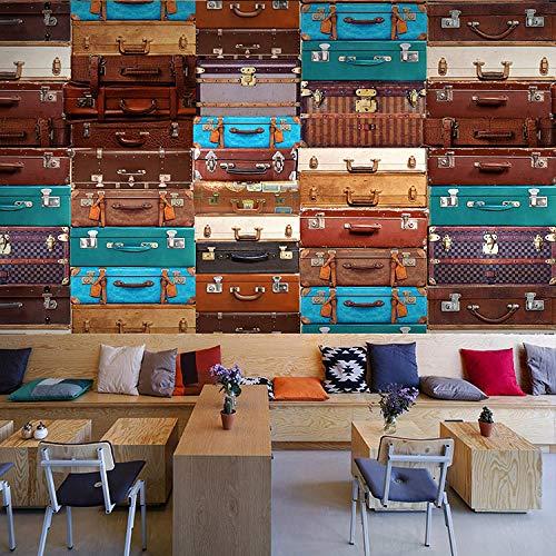 WGBHQ 3D behang zelfklevende muursticker - Europese retro koffer koffie thee winkel familie woonkamer slaapkamer kantoor kinderen kamer decoratie behang achtergrond muurschildering mode 250x175 cm (WxH) 5 stripes - self-adhesive