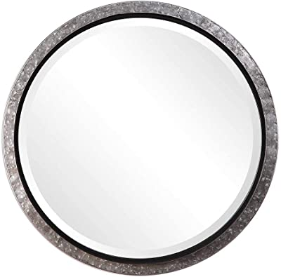 Spinner Modern Industrial Round Metal Wall Mirror | Glass Panel Metal Framed Rounded Circle Design (26 in. W x 26 in. H Round Wall Mirror)