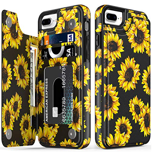 LETO iPhone 8 Plus Case,iPhone 7 Plus Case,Leather Wallet Case with Floral Design for Girls Women,Kickstand Card Slots Cover,Protective Phone Case for iPhone 7 Plus/iPhone 8 Plus Blooming Sunflowers