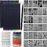 Honoson Kit de Materiales de Scrapbooking Herramientas de Álbum de Recortes Plantilla de Diario Washi Cinta Adhesiva Pluma de Planificador de Diario para Manualidades Dibujo (78 Piezas, Estilo C)
