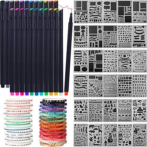 Honoson Scrapbooking Lieferungen Kit Scrapbook Werkzeuge und Lieferungen Journal Schablone Washi Tape und Journal Planer Stift für Journal Notizbuch Tagebuch DIY Kunststoff Zeichnung Vorlage (Stil C)