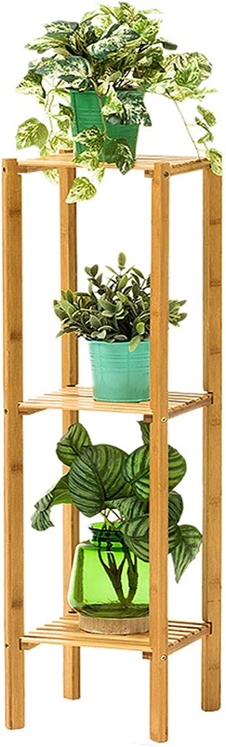 DLoob Bamboo Plant Stand Indoor Outdoor Multi Shelves Flower Display Stand for House, Garden (Size   H 98CM)
