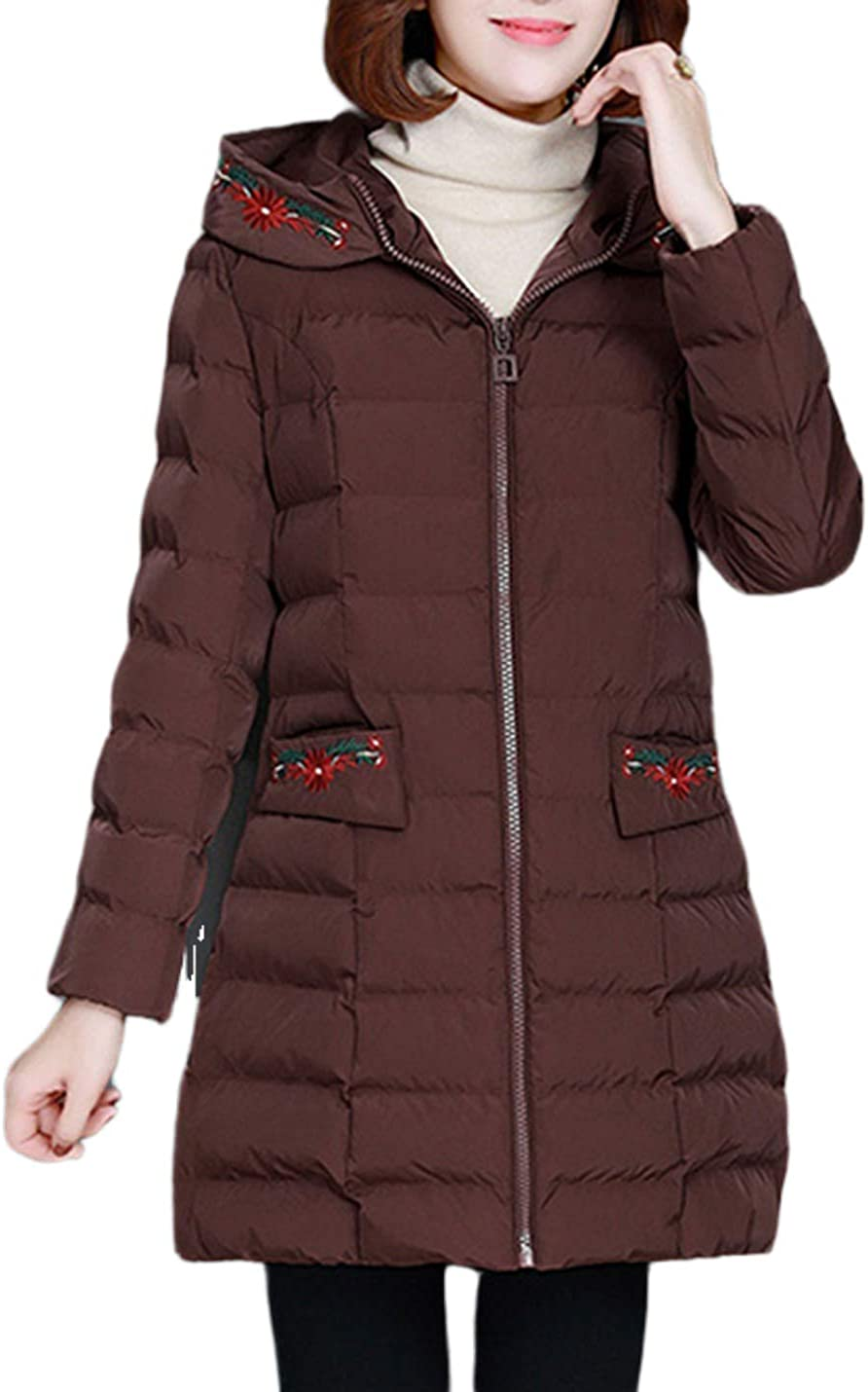 Uaneo Women's Loose Casual Thick Embroidered Hoodie Quilted Padded Puffy Parka Jackets(Brown-S)